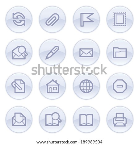 Email contour icons on blue buttons. - stock vector