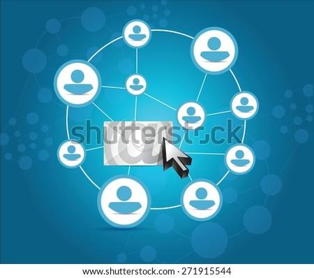 email correspondence people diagram illustration design over blue background - stock vector