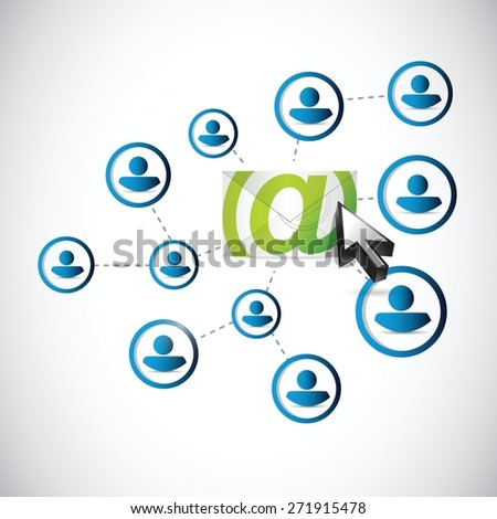 email correspondence people network link illustration design over white background - stock vector