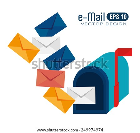 Email design over white background, vector illustration. - stock vector