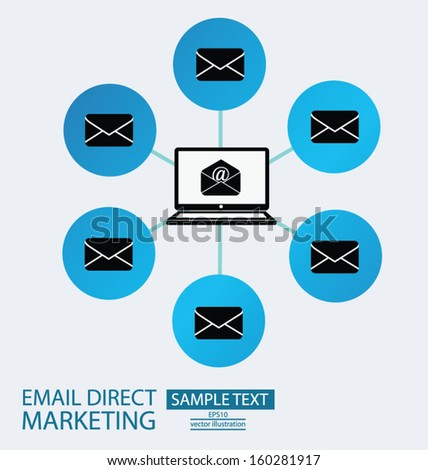 email direct marketing. communication concept. vector Illustration.