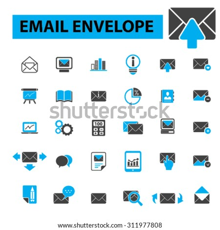 Email envelope icons: email marketing, clients internet, sending. Vector illustration - stock vector