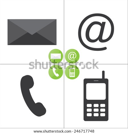 Email, envelope, phone, mobile icons - icons set - stock vector