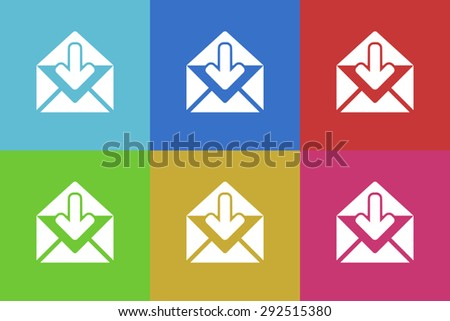 email flat design modern vector icons set for web and mobile app - stock vector