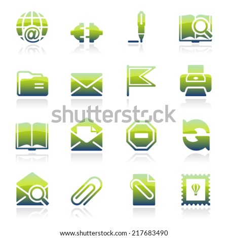 Email green icons. - stock vector