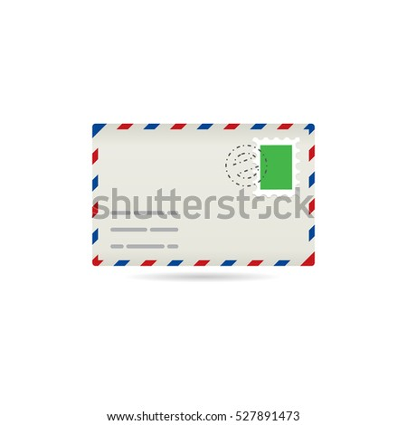 Email icon in color. Envelope stamp post letter