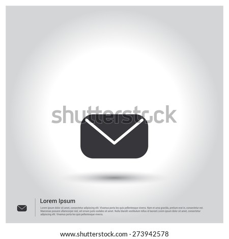 Email Icon, Mail Icon. Message Icon pictogram icon on gray background. Vector illustration for web site, mobile application. Simple flat metro design style. Outline Icon. Flat design style - stock vector