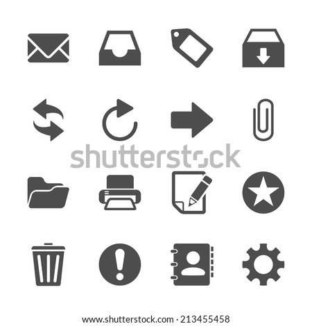 email icon set, vector eps10. - stock vector