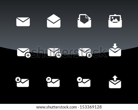 Email icons on black background. Envelope signs for web and applications. Vector illustration. - stock vector