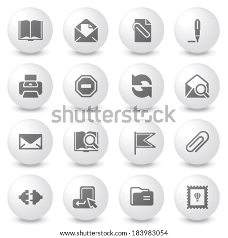 Email icons on gray buttons. - stock vector