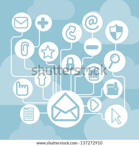 email icons over blue background. vector illustration - stock vector