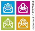 email icons over squares background. vector illustration - stock vector