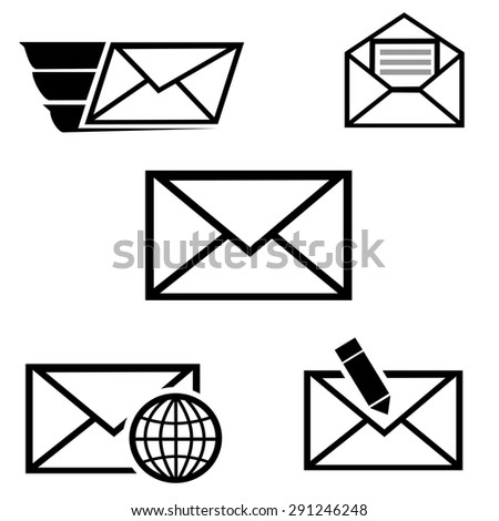 Email icons set vector - stock vector