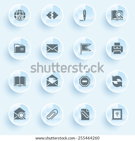 Email icons with buttons on blue background. - stock vector