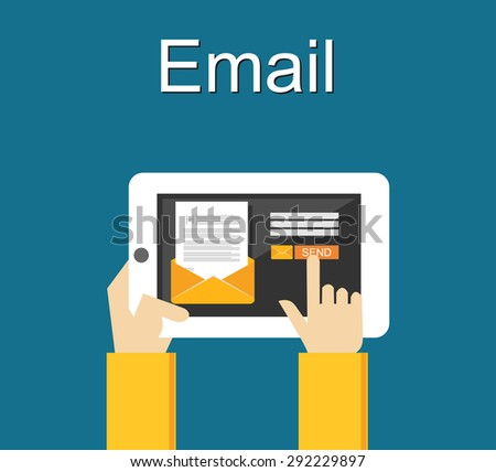 Email illustration. Sending email concept illustration. flat design.