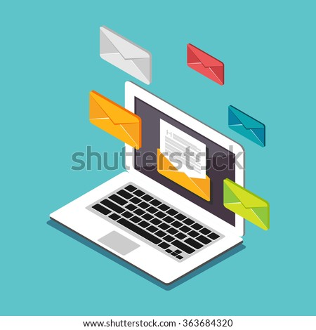 Email illustration. Sending or receiving email concept illustration. Flat 3d isometric concept illustration. Email marketing. - stock vector