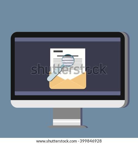 Email illustration. Sending or receiving email concept illustration. Magnifier. Flat design. Email marketing.  - stock vector
