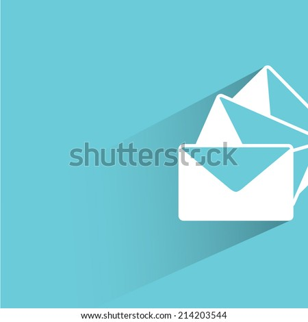 email, letter, blue background - stock vector