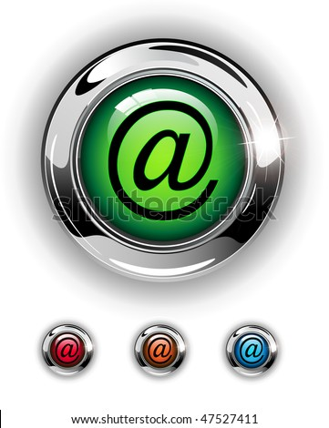 Email, mail icon, button, glossy metallic shining chrome. - stock vector