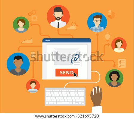 Email marketing and corporate newsletter concept. Business man sends a letter to his business colleagues  - stock vector
