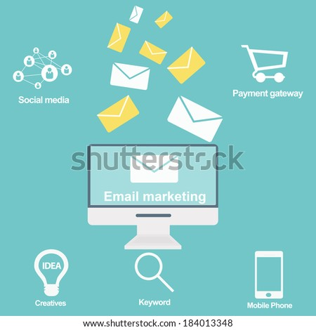 Email marketing and promotion - stock vector