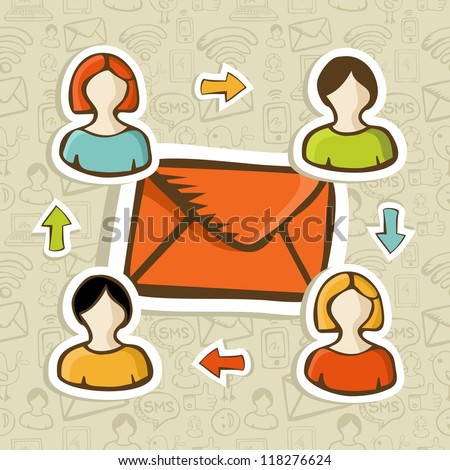 Email marketing campaign diversity people connection over social icons pattern. Vector illustration layered for easy manipulation and custom coloring. - stock vector