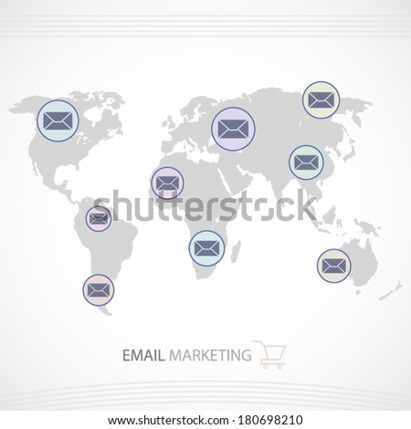 Email marketing illustration with world map and email icons art