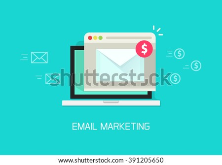 Email marketing vector illustration concept, laptop computer email with browser window, internet digital letter, communication, flat cartoon banner element design isolated on blue background - stock vector