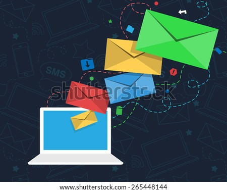 Email Newsletter Design with Laptop and Envelopes - stock vector