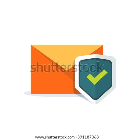 Email security concept, orange e-mail envelope with shield icon, concept of internet mail protection, data protect, safety, secure email, sign flat cartoon design isolated on white - stock vector