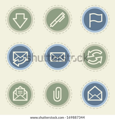 Email web icon set, vintage buttons - stock vector