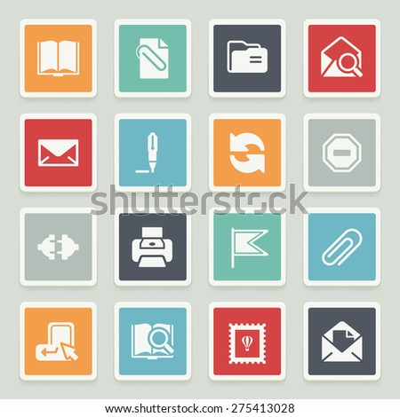 Email white icons with buttons on gray background. - stock vector