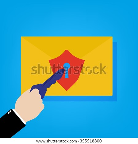 Email with security shield lock and businessman with key to unlock. Vector illustration cyber security concept flat design. - stock vector
