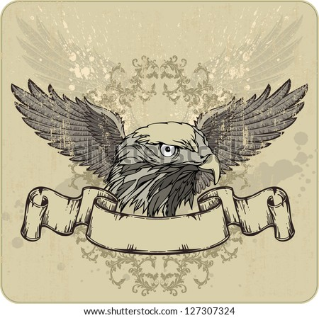 Emblem an eagle, wings and vintage banner. Vector illustration. - stock vector