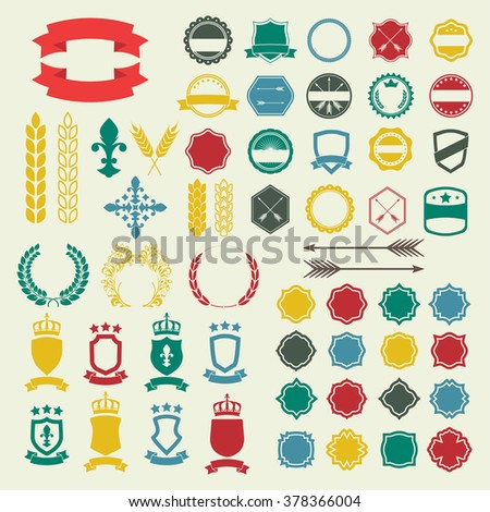 Emblem and labels set. Collection of retro style badges, banners, shields, emblems, typography, frames, arrow, borders, ribbons and stamps. Vector design elements. - stock vector