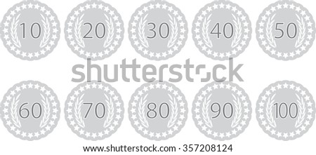 Emblem badge anniversaries. Label emblem fot celebration birthday, 70 and 100 year, award 60, 90 stamp, 40 and 10, insignia sticker 80. Vector art abstract unusual fashion illustration - stock vector