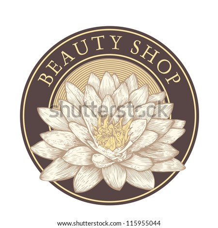 "emblem ""beauty shop"" with lotus. vector illustration. color version. - stock vector"