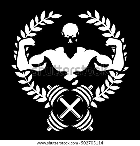 Emblem for gym and fitness, athlete with muscles and dumbbells