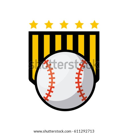 emblem of baseball sport with ball icon over white background. colorful design. vector illustration