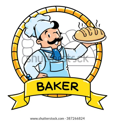 Emblem of funny cook or chef or baker with bread, in round frame with cartouche. Profession ABC series. Children vector illustration. - stock vector