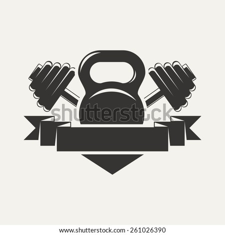Emblem of the cross bars for fitness and gym. Vector illustration . - stock vector
