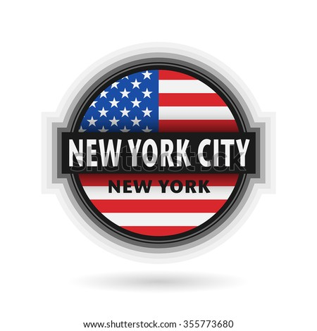 Emblem or label with name of New York City, New York, vector illustration  - stock vector