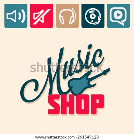 Emblem or logotype elements for music shop, guitar shop - stock vector