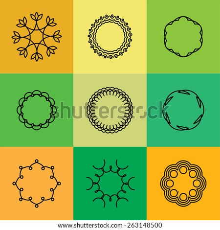 emblem outlines & line badges vector set - abstract hipster logo templates. This also represents monograms, border frames, simple line icons, floral design elements - stock vector