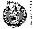 "emblem ""punk rock"" with screaming punk head. vector illustration. black and white version. - stock vector"