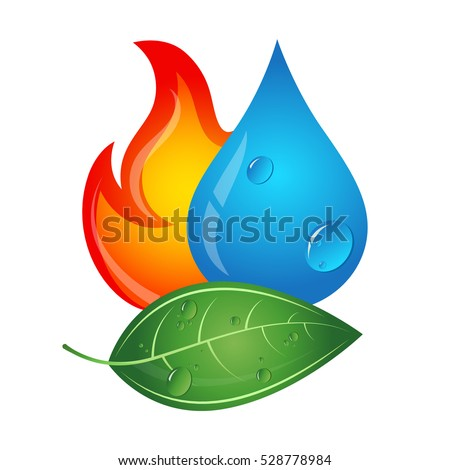 Emblem renewable energy sources, fire, water drop and green leaf
