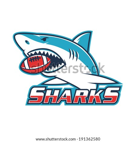Emblem shark holds ball in his mouth - stock vector