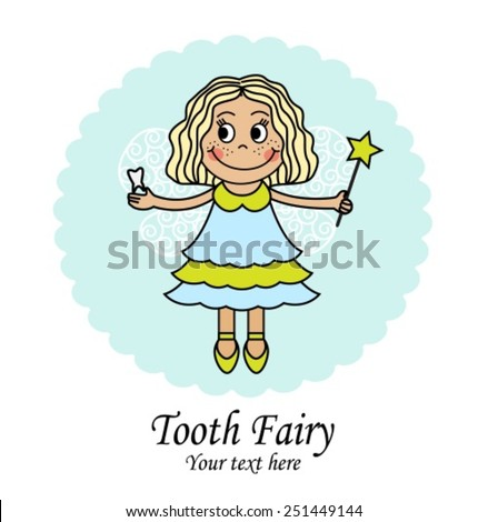 emblem with a little fairy that holds the tooth and the magic wand  - stock vector