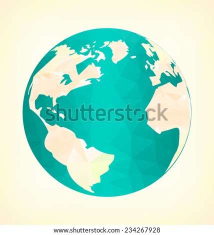 Emblem with blue globe in triangles on yellow background - stock vector
