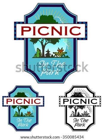 emblem with copy space, for a picnic or park event  - stock vector